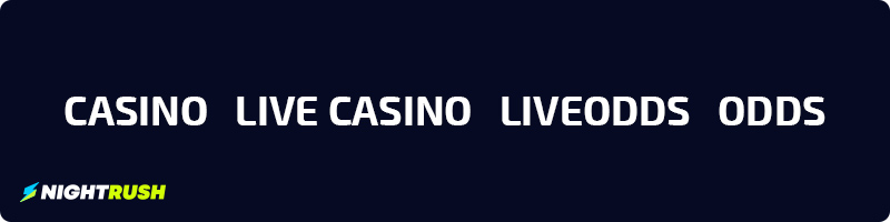 Casino, Live Casino, Liveodds och odds hos NightRush