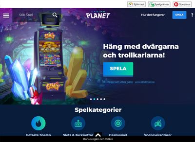 Casino Planet webbsida